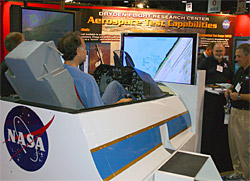 A portable F-16 flight simulator from Dryden was a big hit with visitors to the Aerospace Testing Expo 2005.