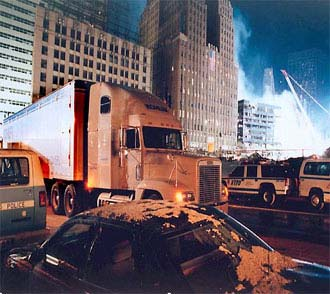 Shower truck at World Trade Center site.