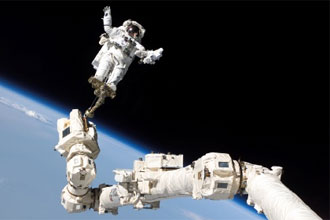 Mission Specialist Stephen K. Robinson during STS-114 spacewalk