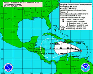 National Hurricane Center's predicted track of Tropical Storm Gamma.