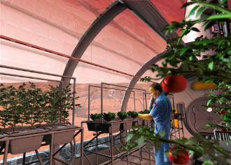 Conceptual art of astronaut in greenhouse
