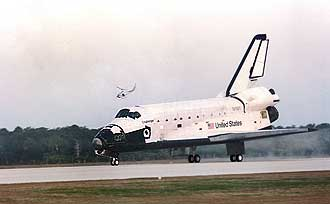 First space shuttle landing at Kennedy Space Center.