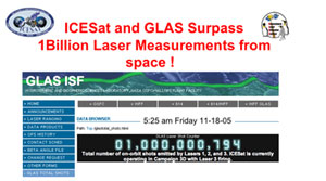 Banner announcing ICESat's accomplishment.