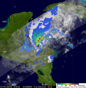 Tropical Storm Gamma seen by TRMM on November 19, 2005.