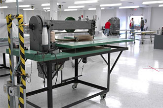 A sewing machine inside the refurbished TPSF