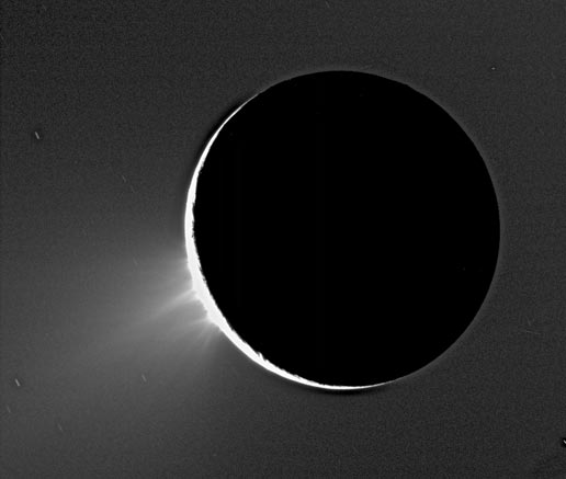Recent Cassini images of Saturn's moon Enceladus backlit by the sun
