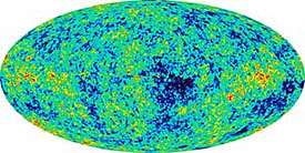 This map of the sky uses color to show the oldest light in the universe with red showing the warmer spots and blue showing the cooler spots