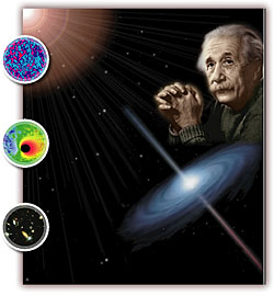 A picture of Albert Einstein with a background of stars