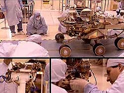 A montage of Mars rover construction scenes