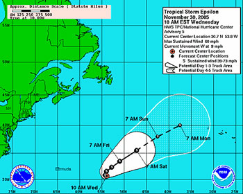 Tracking map of Tropical Storm Epsilon.