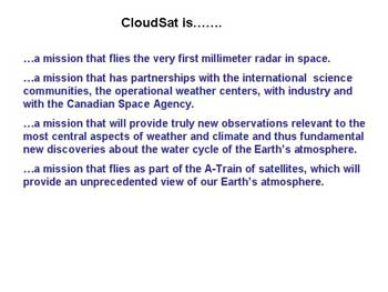 Cloudsat Slide 13