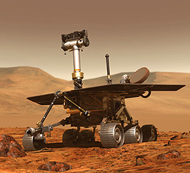 An artist's drawing of a lone rover on Mars.