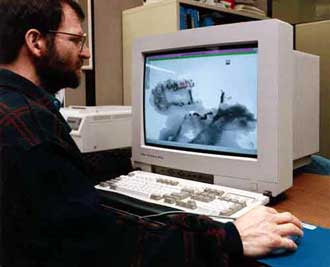 Scientist examines a scroll image on a computer screen.