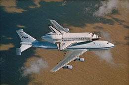Space Shuttle Discovery atop NASA's modified 747.
