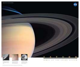 front cover of poster with Saturn's rings