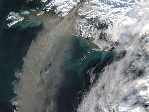 Massive dust storm of glacial sediments swept off the coast of Alaska.