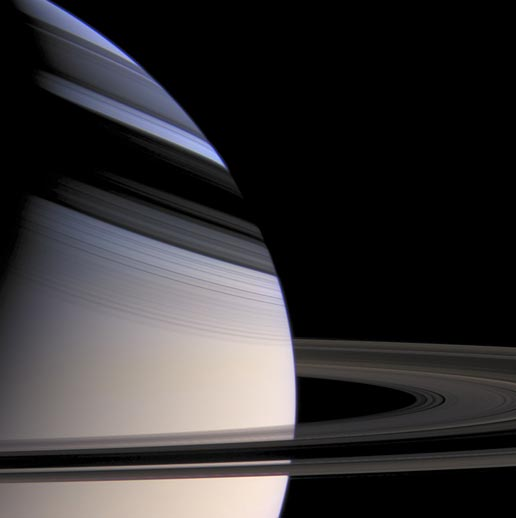 Saturn and shadow of its rings