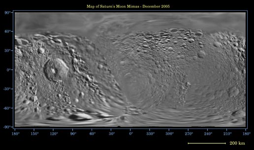 global digital map of Saturn's moon Mimas