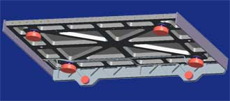 Illustration of air bearings on treadmill frame