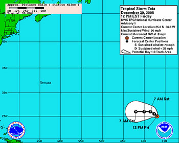 NOAA map showing the predicted track that Tropical Storm Zeta is expected to take.