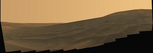 panorama of intricately rippled sand deposits in Gusev Crater on Mars