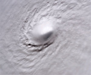 This image of Hurricane Wilma was taken at 8:22 a.m. CDT Wednesday, Oct. 19, by the crew aboard NASA's international space station as the complex flew 222 miles above the storm.