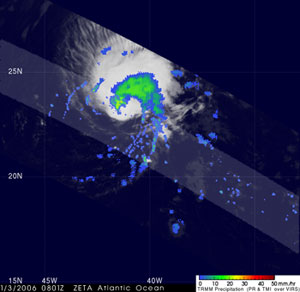 The first image was taken by TRMM at 3:01 am EST on 3 January 2006 as it flew over Zeta in the central Atlantic.