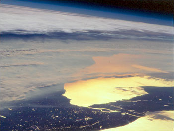 The STS92 Space Shuttle astronauts photographed upstate New York at sunset on October 21, 2000.