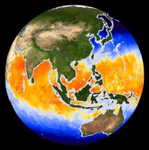 A computer image of the Earth with colored bands indicating differences in sea surface temperature