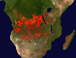 A computer image showing fires in Africa in 2002