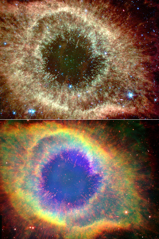 Two views of the Helix Nebula