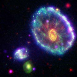 false-color view of Cartwheel galaxy