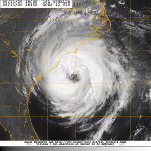This is an image of Hurricane Ophelia (2005) from the Geostationary Operational Environmental Satellite (GOES)