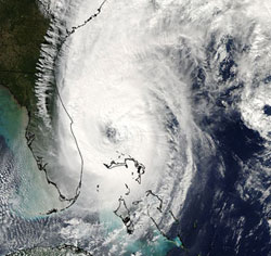MODIS instrument on Aqua captured this image of Wilma during the 2005 hurricane season.