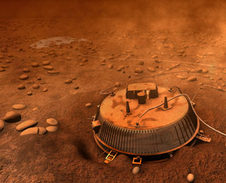 Artist conception of the Huygens probe on the surface of Titan