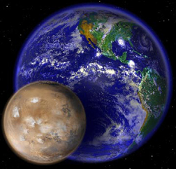 Mars in front of the much larger Earth