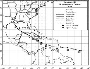 Track of Hurricane Lili in 2002