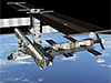 Space shuttle docked with the space station