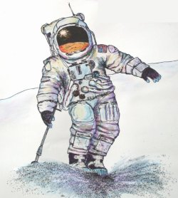 Artists conception of Apollo astronaut skiing.