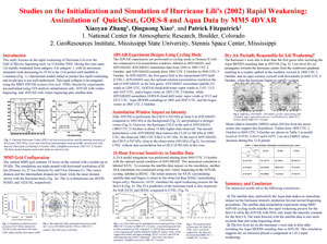 This poster entitled, Studies on the Initialization and Simulation of Hurricane Lili's Rapid Weakening, will be presented at the American Meteorological Society's Annual meeting, the week of January 29, 2006.