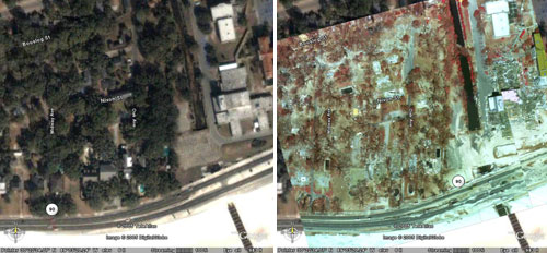 These are before and after images of Gulfport, Mississippi's shoreline. On the left is an image before Katrina hit, right is the aftermath.