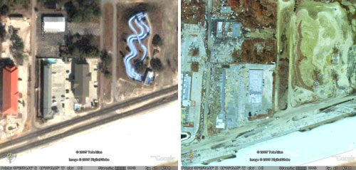 These are before and after Hurricane Katrina images of a water park in Gulfport, Mississippi. On the before image (left), the blue wavy lines are the water park slides, with a building to the left of it. In the after image, the water slide and building have been completely demolished and washed away by Hurricane Katrina.