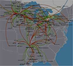 Mesaba airlines routes over the Mississippi Valley and Great Lakes regions of the U.S.