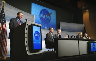NASA Administrator Michael Griffin and the heads of NASA's four mission directorates