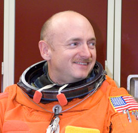 Astronaut Mark Kelly attired in a training version of the shuttle launch and entry suit