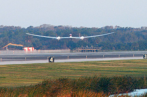 GlobalFlyer launches on its world record attempt.