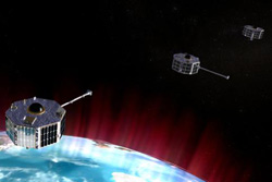 Animation of the three ST5 spacecraft among the Earth's magnetic field lines