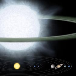 artist's concept compares, top, gargantuan star, and ,bottom, our solar system