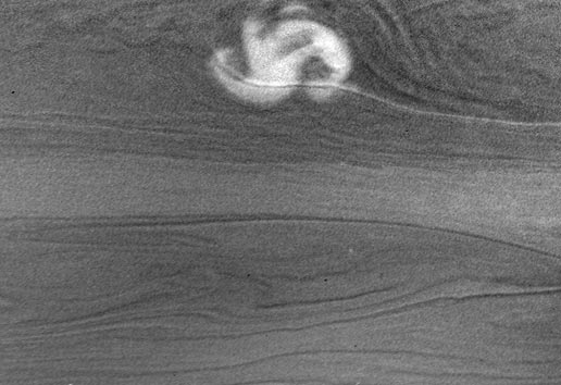 powerful storm on the night side of Saturn