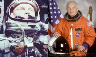Astronaut John Glenn in the Friendship 7 spacecraft (left) and in his official portrait as a crewmember of STS-95.